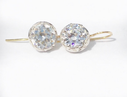 Georgian style OEC diamond CZ earrings