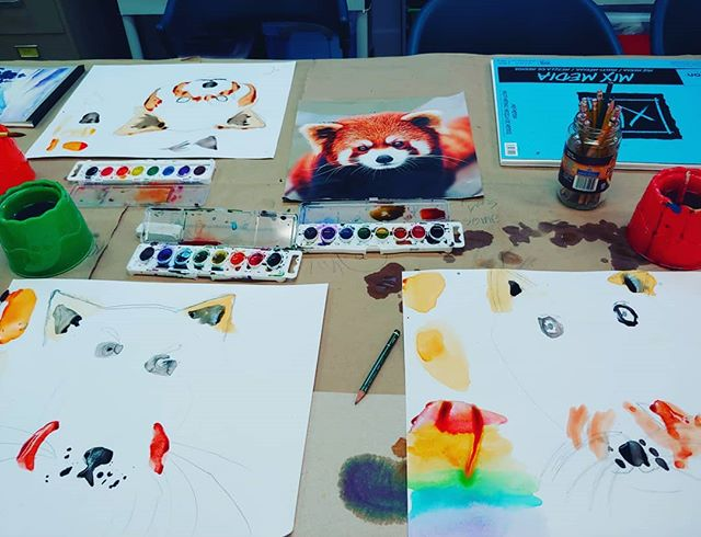 Teaching ages 5-8 how to paint red panda