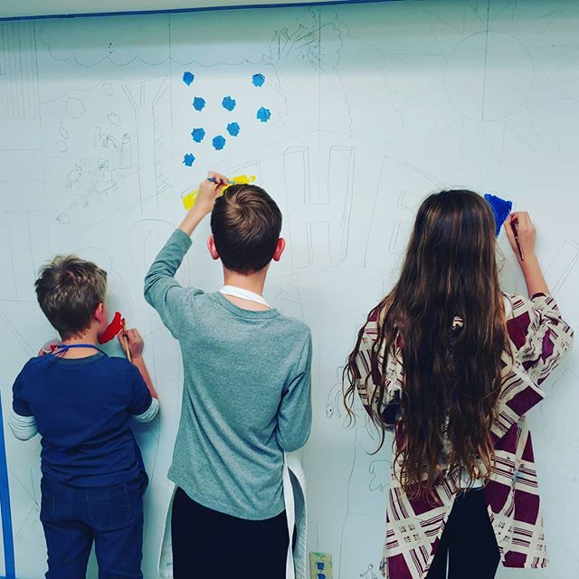 We've begun the mural!__#artteacher #art