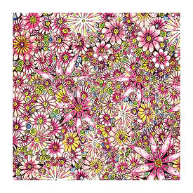 6 x Floral Pattern Pink Flowers [349]