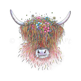 6 x Floral Highland Cow [375]