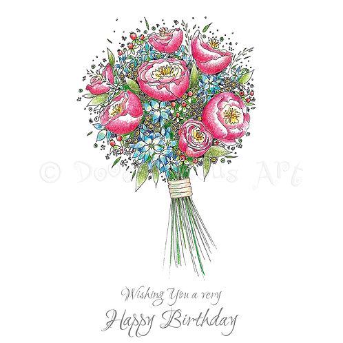 6 x Hydrangea and Peony Happy Birthday [271]