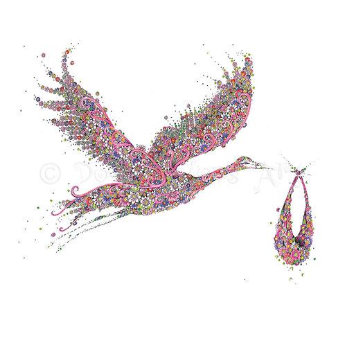 6 x Pink Stork [049]