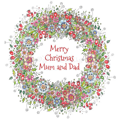 6 x Rosehip Wreath Merry Christmas Mum and Dad [228]