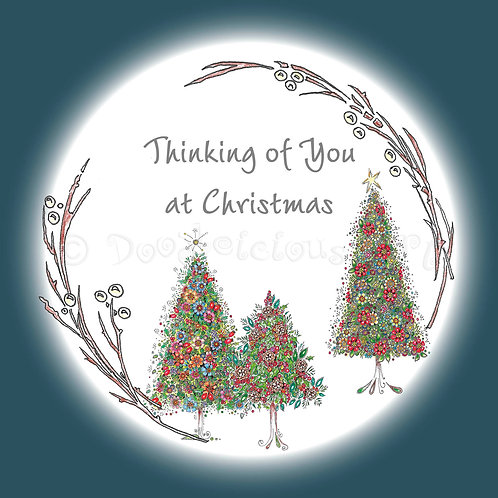 6 x Three trees wreath Thinking of You at Christmas [227]