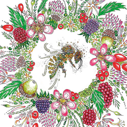 6 x Wreath and Bee [366]