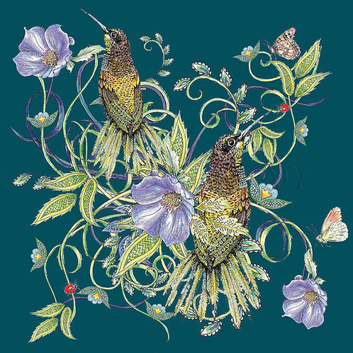 Botanical Birds and Flowers Green [541]