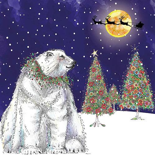 6 x Polar Bear Santa Sleigh [464]