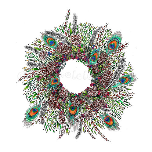 6 x Peacock Wreath [059]