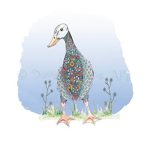 6 x Blue Floral Duck [233]