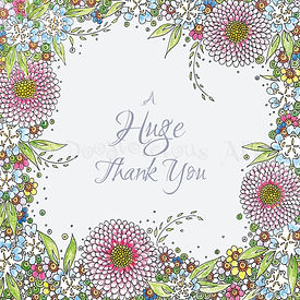 6 x Floral border Huge Thank You [258]