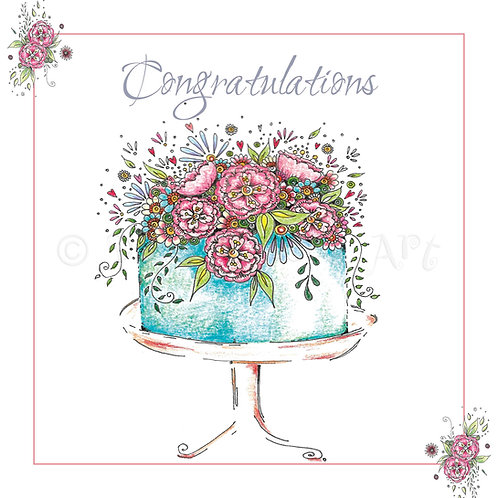 6 x Blue Cake Congratulations [256]