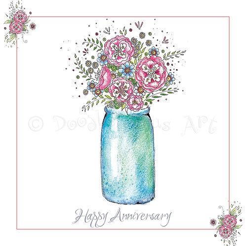 6 x Vase of Flowers Happy Anniversary [265]