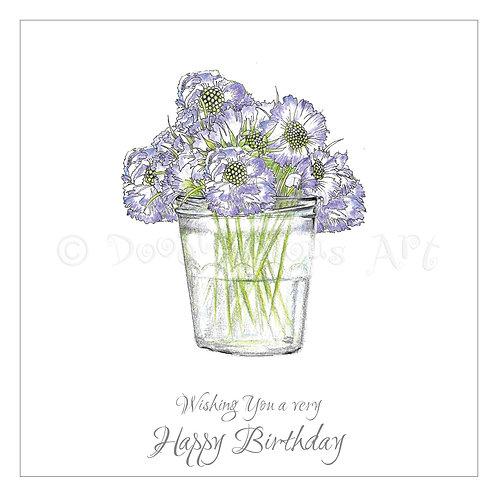 6 x Scabious Jam Jar Happy Birthday [273]