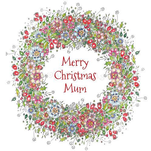 6 x Rosehip Wreath Merry Christmas Mum [229]