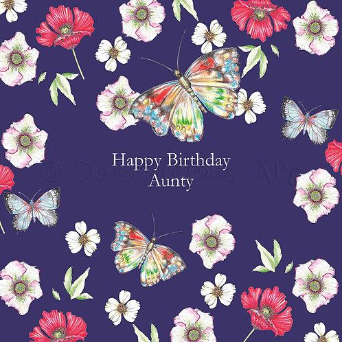 6 x Wild Flower Happy Birthday Aunty [412]