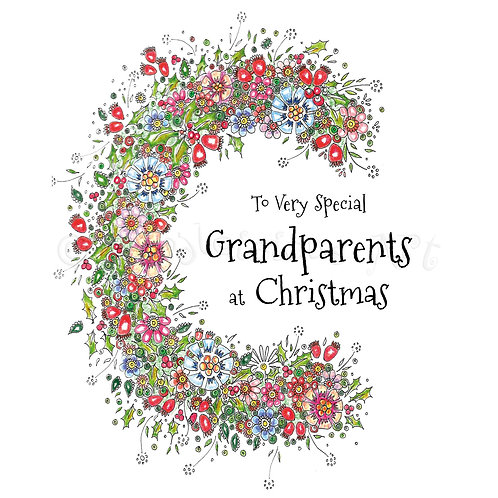 6 x Christmas Half Wreath Grandparents [248]