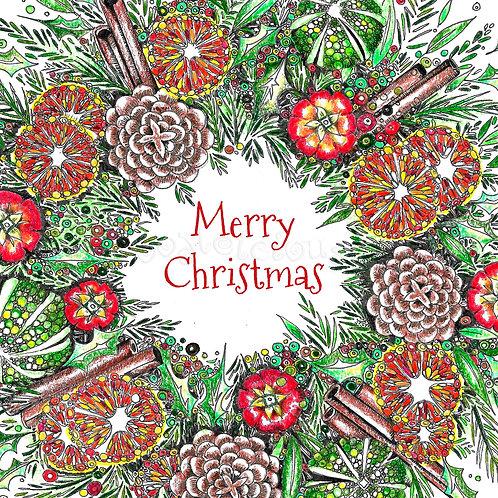 6 x Cinnamon Wreath Merry Christmas [226]