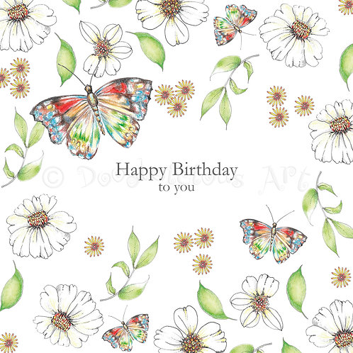 6 x Wild Flower Butterfly Happy Birthday [410]