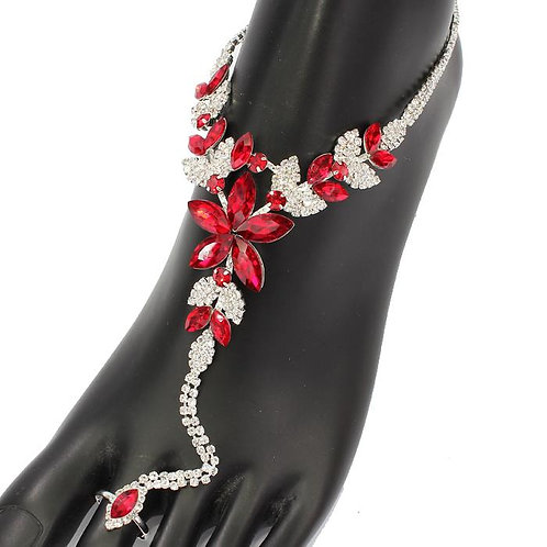 Ruby Red Feet Love Ankle Bracelet