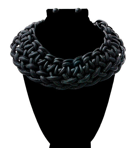 Faux Leather Braided Black Necklace