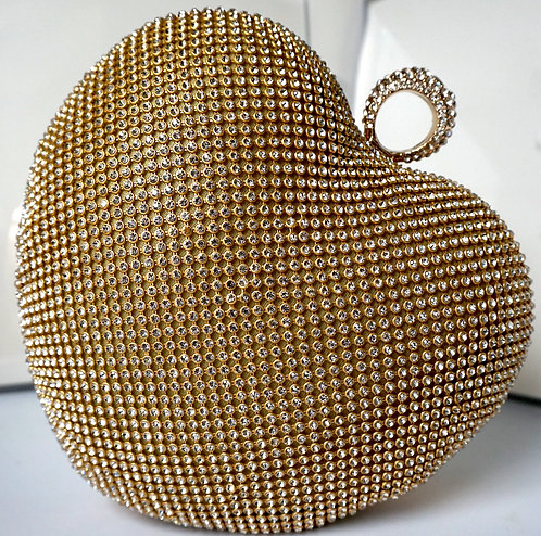 Golden Crystal Heart Clutch