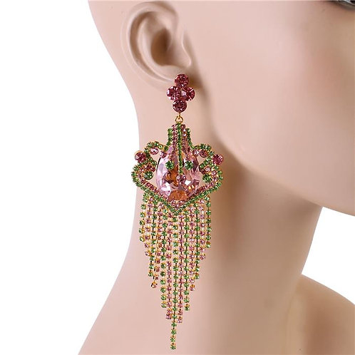Carid Drop Gem Chandy Earrings