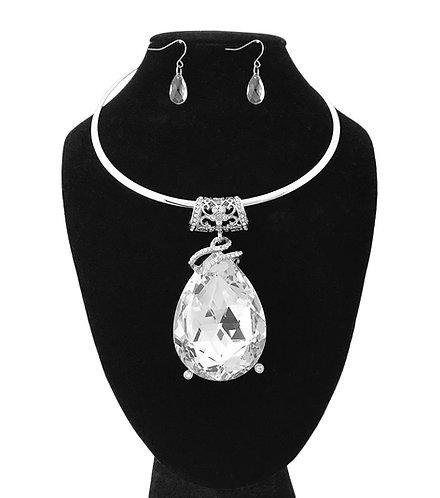 HUGE DIAMOND Tear Necklace