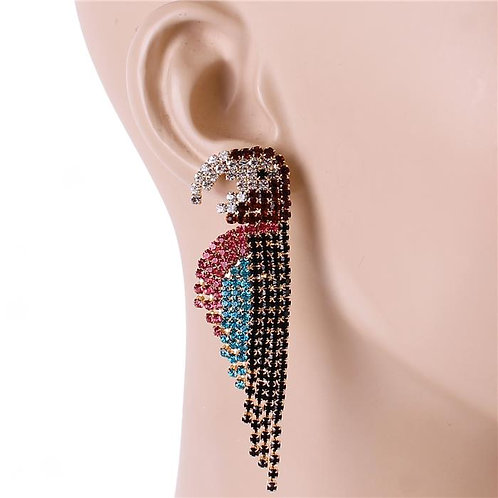 Pink Diamond Dripped Parrot Earrings