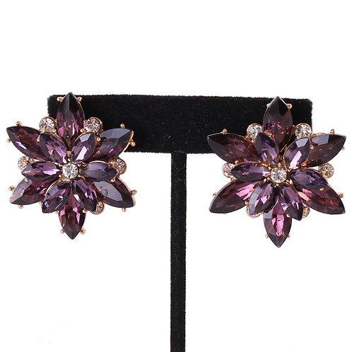 Lilac Gem Flower Earrings