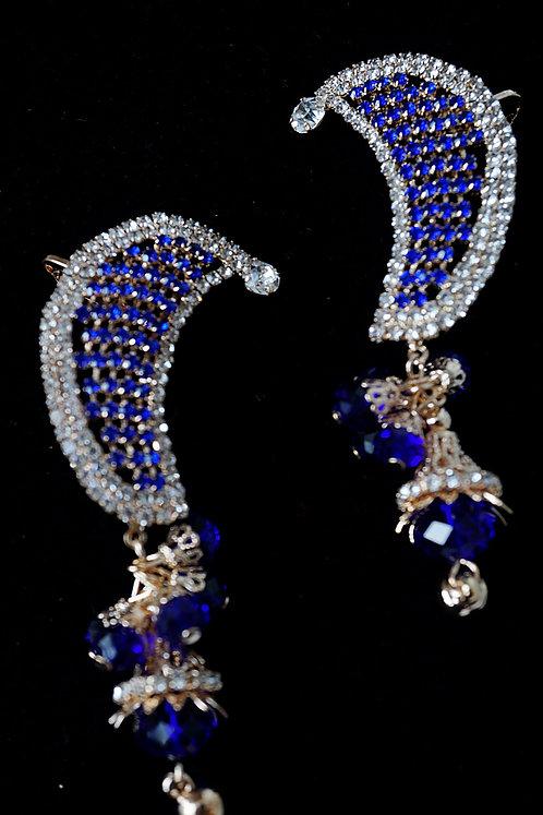 Blue Indi Drop Moon Cuff Earrings