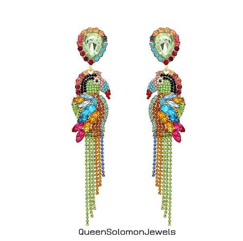 Glitzy Parrot Earrings