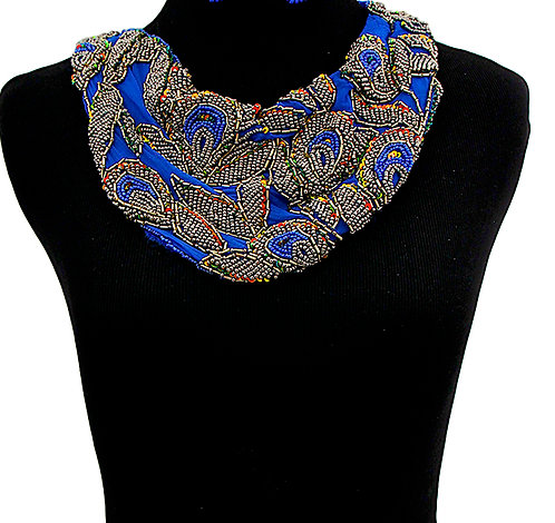 Heaven High Blue Scarf Sequin Neckalce