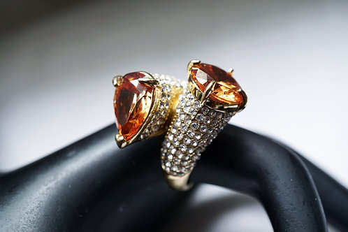 Two Head Topaz Stone Diamond Ring