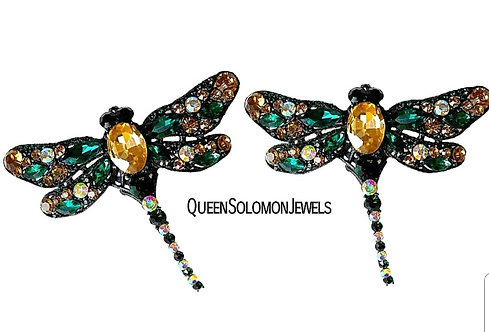 Emerald Dragon Fly Earrings