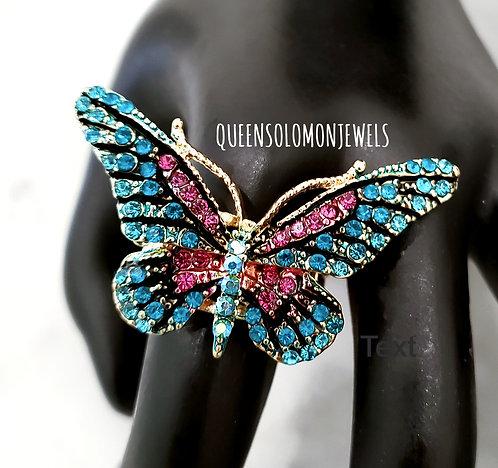 Blue Butterfly Rhinestone Ring