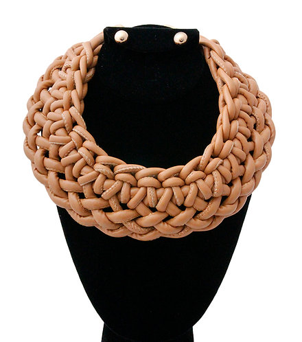 Faux Leather Cream Knotted Neckace