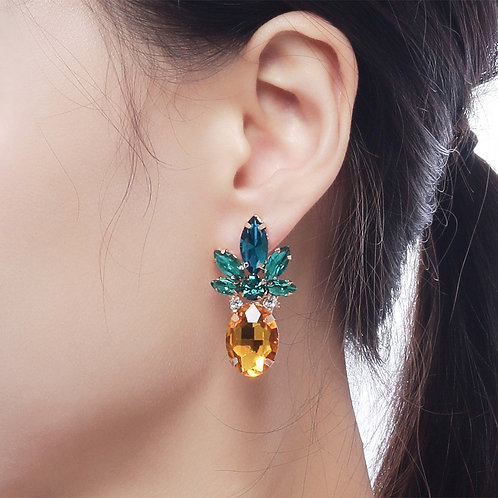 Pineapple Yellow & Emerald Gem Earrings