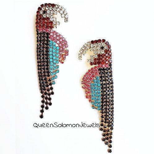 Diamond Studded Parrot Earrings