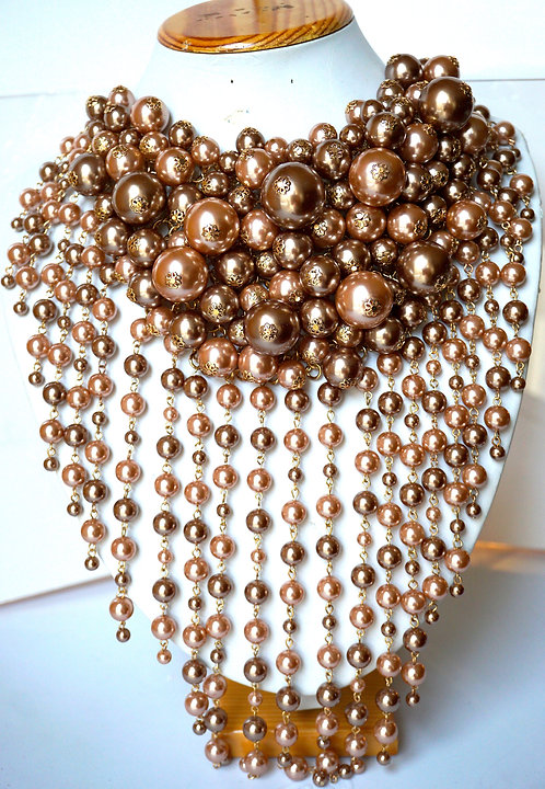 50 Shades of BrownPearls Necklace
