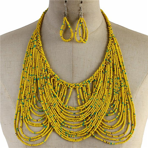 Canary Hand Beaded Necklace