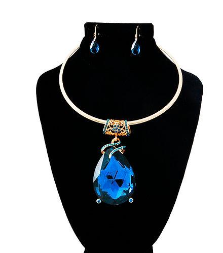 Large Blue Diamond Tear Necklace
