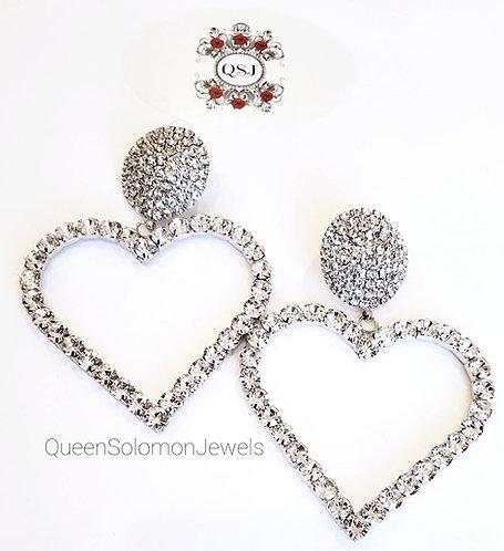 Large Diamond Heart Earrings
