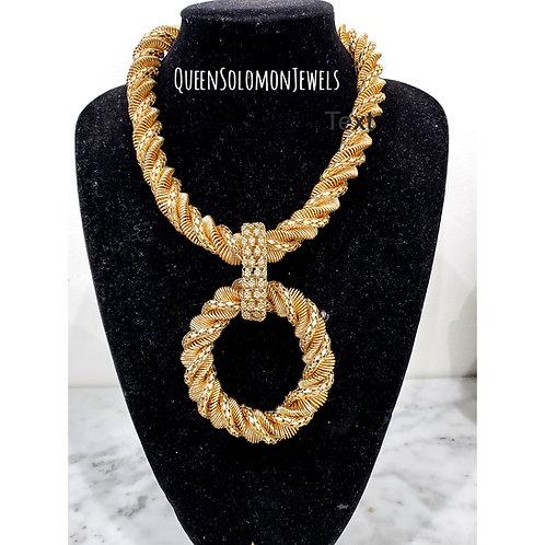 Gold Crossaint Necklace