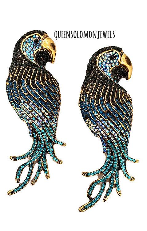 Popping Blue Parrot Earrings