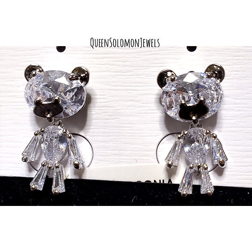 Diamond Teddy Bear Studd Earrings