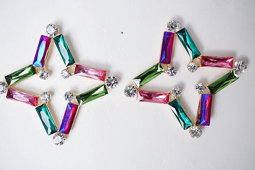 Multi Glam Rec Star Earrings