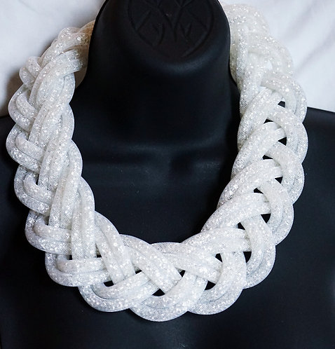 White Braided Necklace