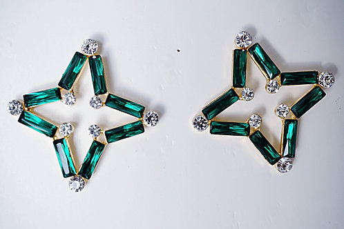 Emerald Green Crystal Star Earrings