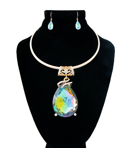 Large Multi Color Tear Drop Necklace
